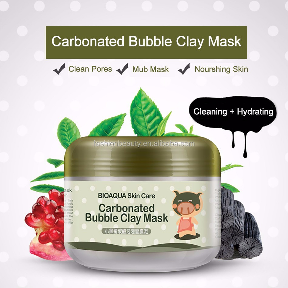 BIOAQUA Deep pore Cleansing Carbonated Bubble Clay Mud Mask Anti-Acne Moisturizing Facial Masks