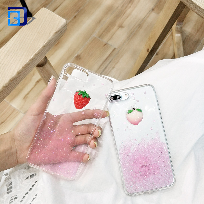 For iPhone 8 Plus Juicy Peach Pattern TPU Cover Cell Phone Shell Glitter in Stock