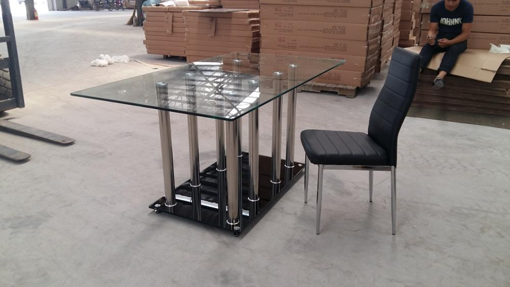 wholesale square tempered glass dining table with stainless steel legs
