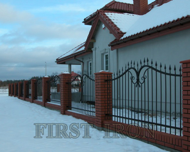 Russian style forged iron fence panels