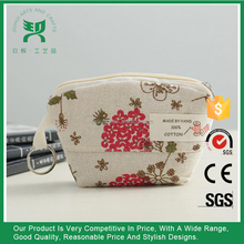Promotional Small Cotton Bag Flower Printed Mini Wallet Coin Purse With Zipper