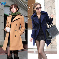 Women Winter Wool Blend Belted Double Breasted Long Trench Coat Jacket Outwear