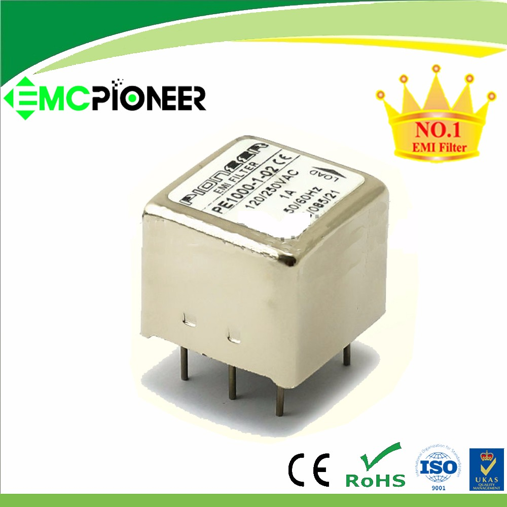 1A 120/250V PE1000-1-02 AC emi suppression filter for PCB board