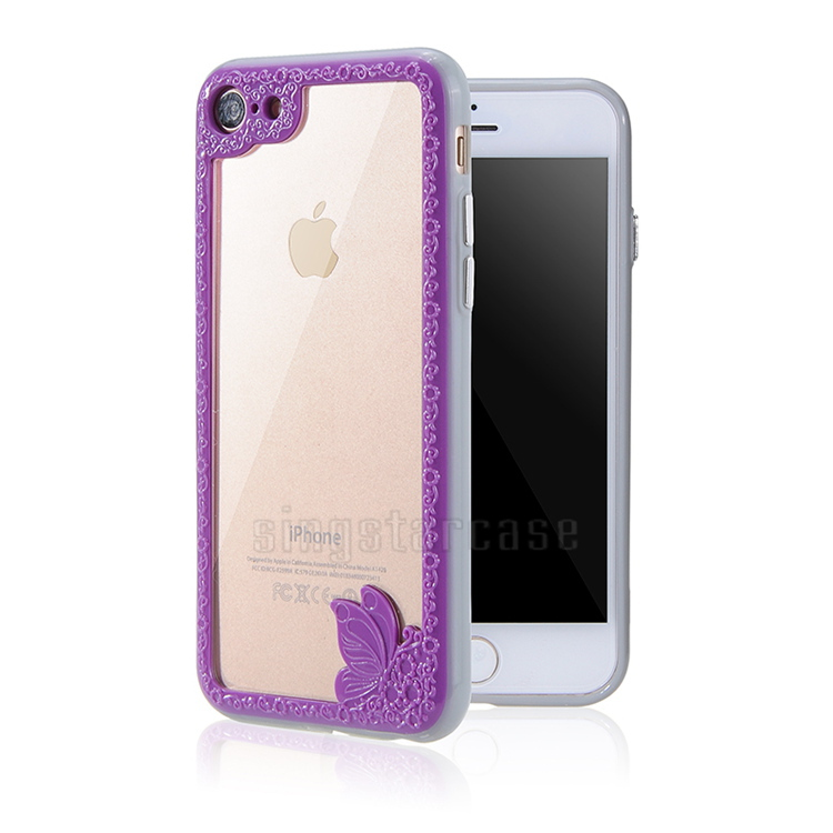 Clear PC Hard Back Cover For iPhone 7 Case, TPU Butterfly Bumper Frame Phone Case For iPhone 7