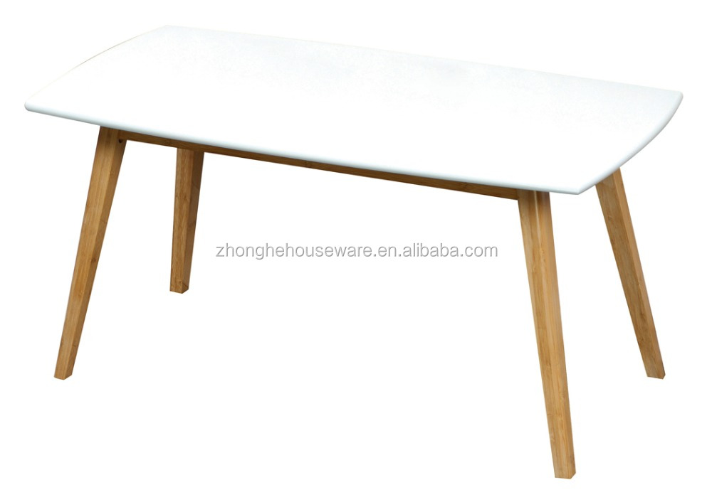 Newly Design Bamboo Legs Wooden White Coffee Table, MDF Table Set
