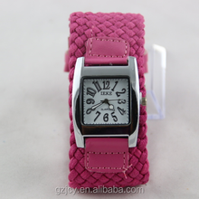 Low price of women's wrist watches large wristband strap girls knit watch