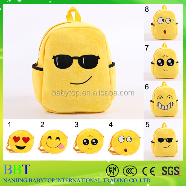 2016 New School Bag Backpack Wholesale fashion custom kids emoji backpack
