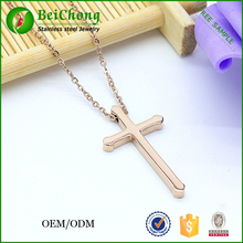 Stainless steel trendy big men plain rose gold cross necklace,cross pendant necklace