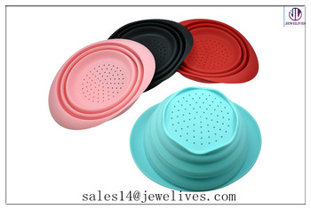 hot foldable bowls/cheap silicone collapsible bowl FDA,SGS,ROHS passed