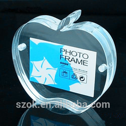 New design apple shape handmade acrylic funny photo frame with magnet
