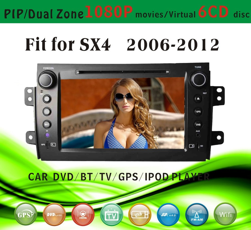 7 inch windows ce car gps fit for Suzuki SX4 2006 - 2012 with radio bluetooth gps tv pip dual zone