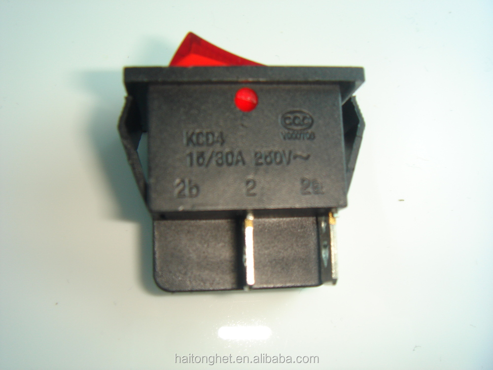Waterproof rocker switch with red light 4pin ,30*25mm,China supplier