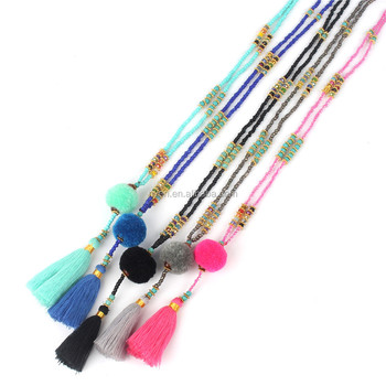 ST0406 Seed Bead Necklace For Women Bohemian Style Tassel Jewelry Glass Beaded Neckalce