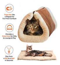 2 in 1 zippered self-heating tunnel cat bed mat,2 in 1 tunnel bed & mat