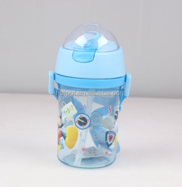 600ML Plastic water bottles Kids drinking bottles with straw as Promotion Gift
