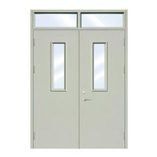 60min fire rated steel double doors with glass insert