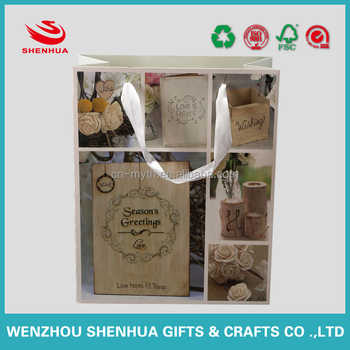 customized beautiful white flowers logo shopping paper bag