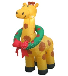 Merry Christmas Yellow with Dark Red Spots Inflatable Giraffe Kid Toy Party Yard Favour Decoration