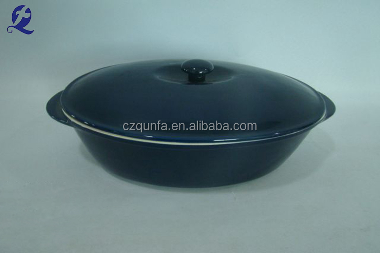 Made in China oval shape solid color ceramic stockpot with lid
