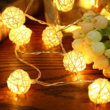 2M 20 LED White/ Warm White AC110V-125V Rattan Ball LED String Christmas Lights