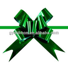 Wholesale PP Green Metallic Printed Ribbon Pull Bow/Cheerleading Bows and ribbons