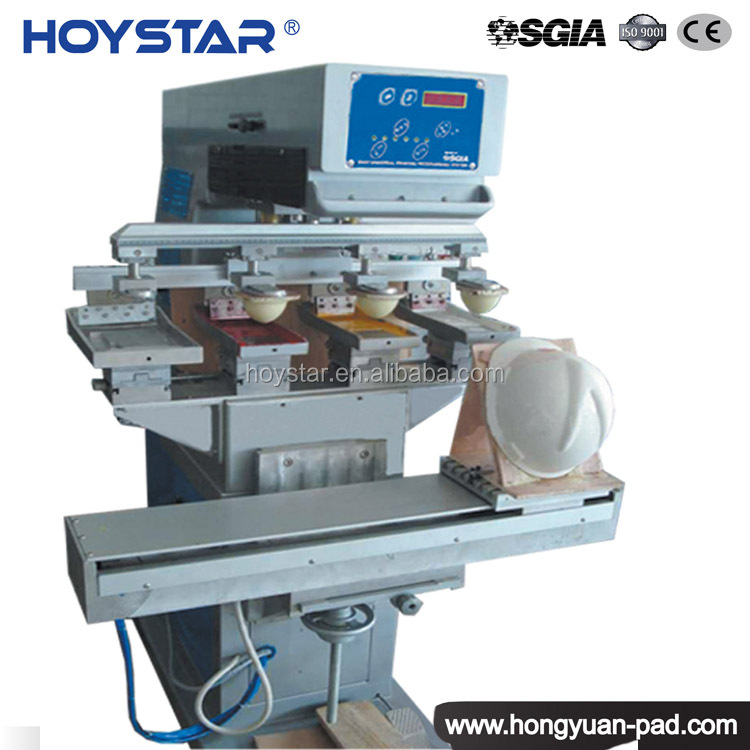 4 Color Helmet Pad Printing Machine, Hard Hat Pad Printer Machine