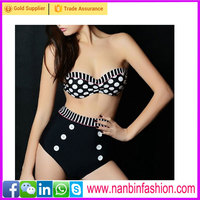 Nanbinfashon hot selling black and white fashion retro high waist bikini
