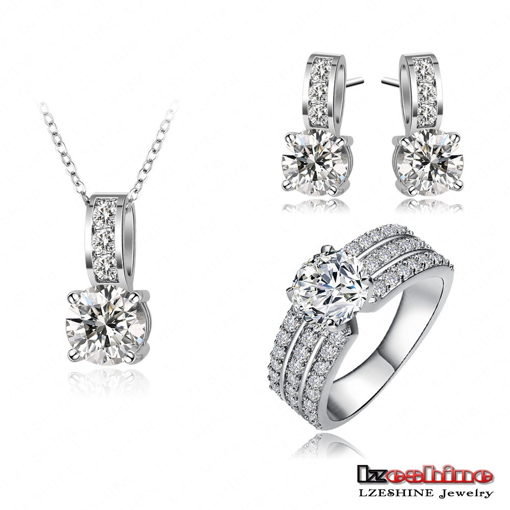 LZESHINE Silver Plated Brass Micro Inlay Cubic Zirconia CZ Wedding Jewelry Sets Wholesale CST0022-B
