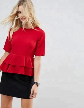China Product Hot Sale New Design Women Peplum hem Blouse Short Sleeve