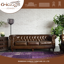 European Cheap Living Room Chesterfield Leather Sofa Brown Hotel Furniture for Sale