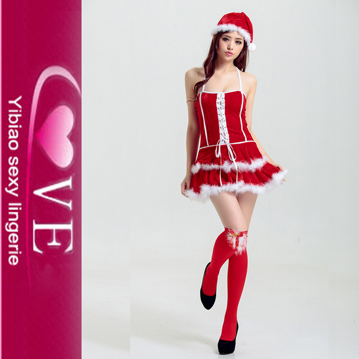 New Arrive Fat Women Santa Dress White Winter Christmas Party Costumes