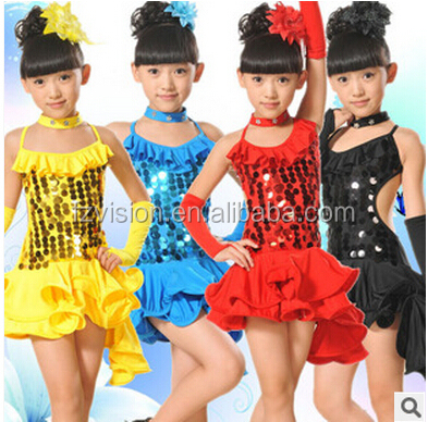 Popular sequin sleeveless red latin dance latin american dancing dresses for girls
