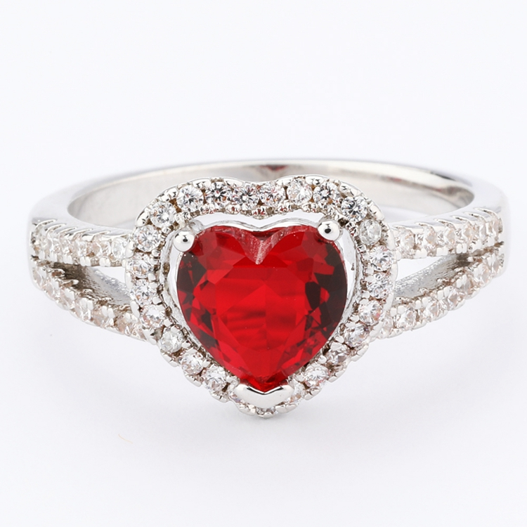 cz heart cut halo wedding ring silver jewelry with gemstones