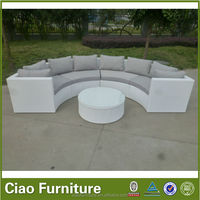 half moon sofa with cover with rattan wicker materials