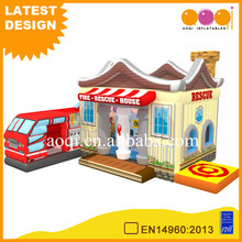 2017 outdoor playground inflatable fire Rescue house fun city cheap kid inflatable playhouse for selling