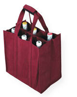 Handled style non woven material 6 bottle wine tote BAG WHOLESALE