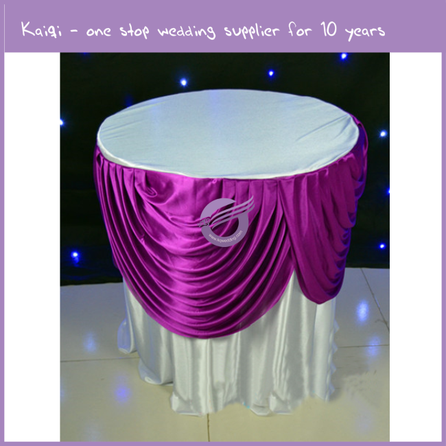 K9352 Wholesale wedding party round satin ruffled table skirt table cloths