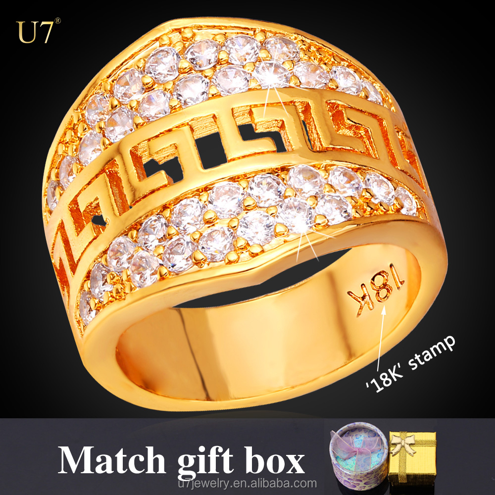 U7 18k Gold plated diamond wedding bands G letter ring ring with box boss finger ring mens