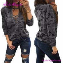 Fast shipping Grey Camouflage printed women casual top plus size blouse