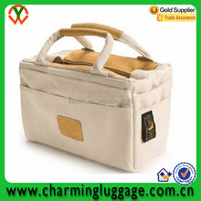 Online Shopping Leather Trim Cotton Shopping Tote Bag