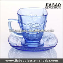 Solid glass cup and saucer, glass expresso cup and saucer, glass tea set