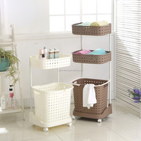 Double & three layers plastic laundry basket with wheels