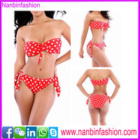 Wholesale factory price triangular red dot women slim sexy bikini