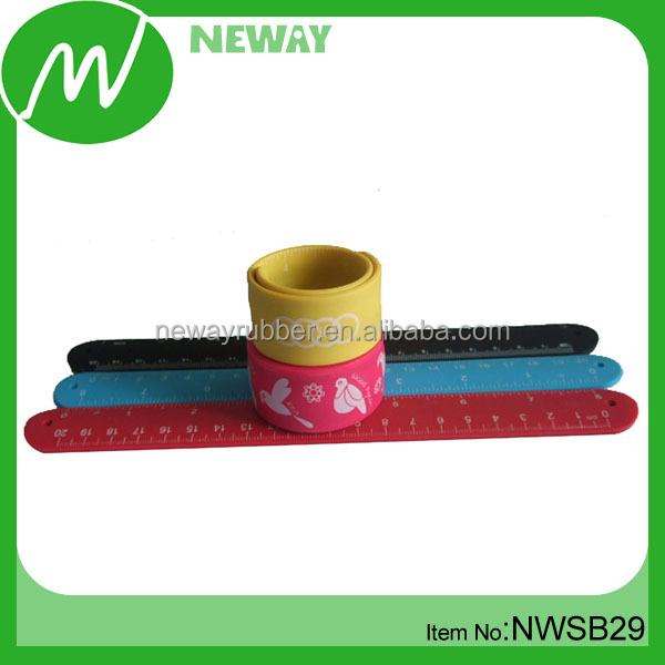 Customized Silicone Snap Bands Slap Ruler Bracelet