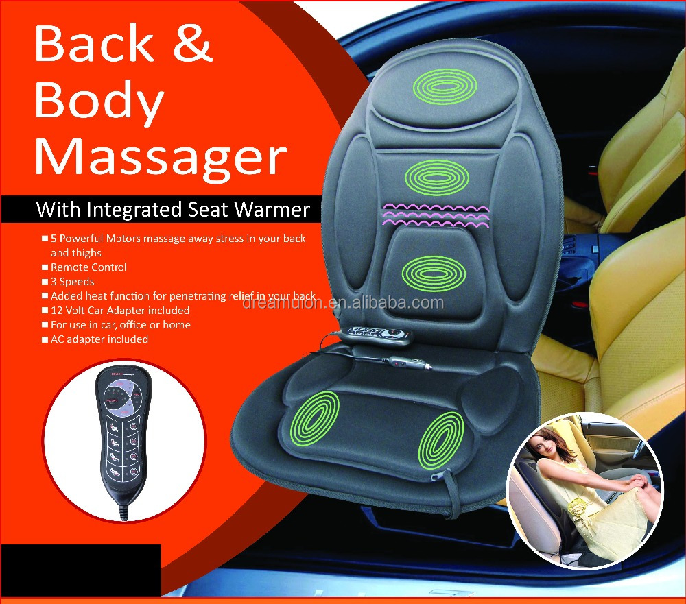NEW ELECTRIC HEATED BACK BODY FIT SEAT REMOTE CONTROL MASSAGE CHAIR CAR HOME VAN RELAX CUSHION