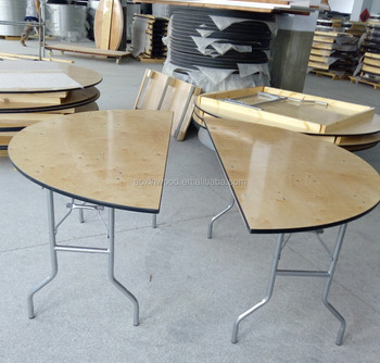 Delightful Half Round Plywood Wooden Dining Table