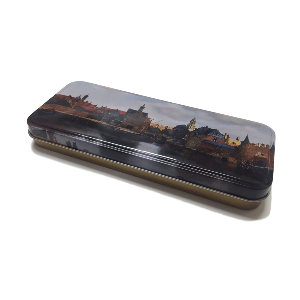 Rectangular pencil case / custom printed metal pencil tin box / stationary pencil case tin