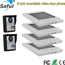 2015 Cheapest Handsfree Color Wired Multi Apartments Video Door Phone with Recording function
