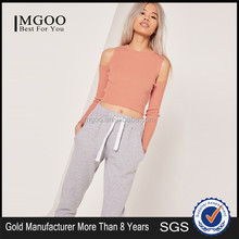 Women Silm Fit Plain Long Sleeve Knitwear High Collar Plain Sweater Cold Shoulder Knitted Crop Top Orange