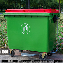 Outdoor 1100 liter plastic large foot pedal waste bin with wheels red lid green container garbage cans